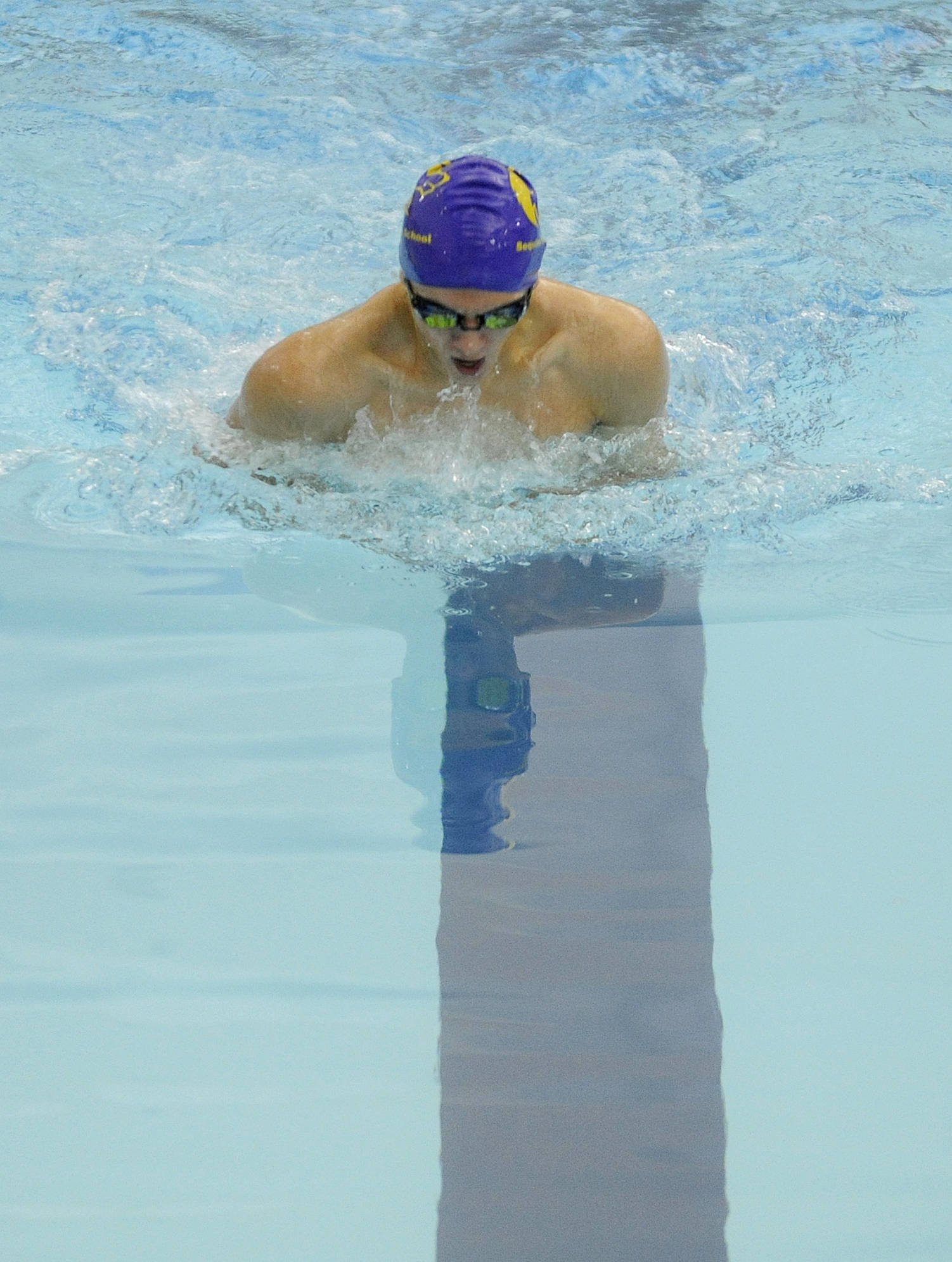 Sequim William Payne swims the 100 breaststroke in an Olympic League meet against Bremerton on Dec. 14. Sequim Gazette photo by Michael Dashiell